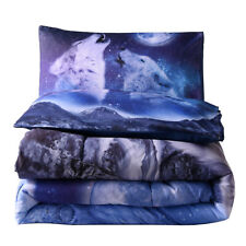 Moon Wolf Comforter Set Kids Teen Boys Men Queen Bedding Set Animal Print Quilt
