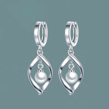 Crystal Long Drop Luxury White Gold Plated Pearl Earrings Wedding Hook Jewelry