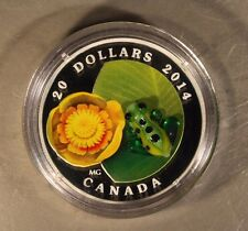 2014 Canada $20 Silver Water Lily & Leopard Frog Proof  ** Free U.S. Shipping **