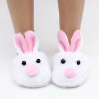 "White Bunny Slippers Rabbit Shoes Made for 18"" Dolls Clothes Gifts"