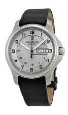 Swiss Army Classic Officer's Steel Mens Strap Watch Silver Dial Date 241550
