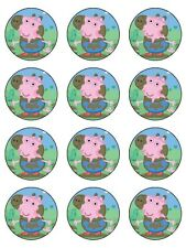 """12 GEORGE PEPPA PIG  2"""" CUPCAKES EDIBLE ICING IMAGE CAKE TOPPERS"""