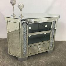 Sparkly Tall Venetian Mirrored Glass Diamond Crystal Corner TV Cabinet Stand