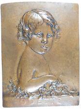 Portrait of a child ODETTE cast bronze 93mm x 126 by Paul Auban  BDM VII p.31