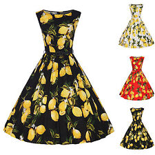 Women's Vintage Floral Lemon 50s 60s Rockabilly Retro Swing Dress Hepburn Style