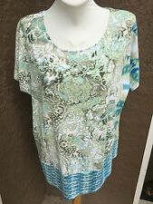 New Chico's Zenergy Teagan Blue White Mixed Print Top Shirt Tee 3 = XL 16 18 NWT