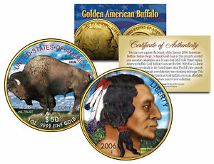 Colorized 2021 AMERICAN GOLD BUFFALO Colorized Indian Coin * 24K Gold Plated *