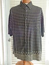Claiborne Men's Button Front Short Sleeve Black/Tan Rayon Shirt Sz XXL