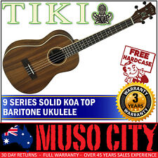 New Tiki Solid Koa Top Baritone Ukulele w Hard Case (Natural Satin)