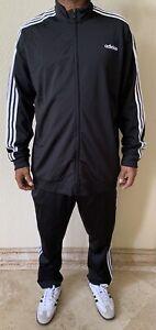 Adidas Men's Essentials 3-Stripes Tricot 2 Piece Track Suit  Size 2XL Black