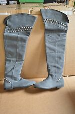 Mia Women's Highness Gray Suede Over the Kneee Boots 6 M New/Defects