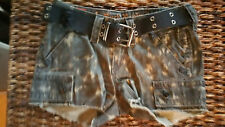 New $89.95 Women's Rock Revival Low Rise Green Camo Stretch Cargo Short size 24