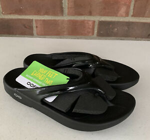 OOFOS OOlala Black soft flip-flop comfort sandals Women's size US 7 New