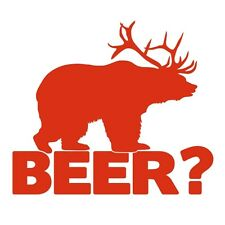 Bear+deer = Cerveza! Funny Caza Broma coche van Ventana Vinilo Decal Sticker Rojo Tomate