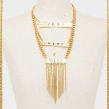 VENI VIDI VICI Statement Chunky Multi Chain Layered Long Tassel Necklace Gold Tn