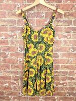 VTG Avi Inc One Size Dress Skater Sunflower Floral Stretchy Made in USA