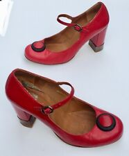 Stunning Vintage Look Oli Red Leather Mary Janes Heels Shoes UK Size 7 41 / 7.5*