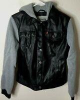Levi's Men's Rugged Faux Leather Racer Jacket With Hood, Black, Medium, MSRP$100