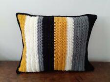 Fabulous hand crocheted double-sided cushion, black grey mustard cream, FREE P&P