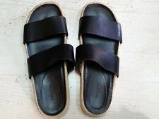 BALENCIAGA Mens Black Leather Flat Sandals Slides Size 44EU 10US Made in Spain