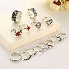Women Retro Finger Rings Boho Style Vintage 14pcs/set Silver Punk Gems Band Ring