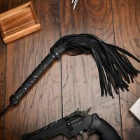 Leather Flogger Whip with 50 Long Tails Black Sturdy & Long Handmade Firm Grip