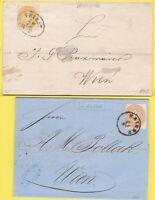 ÖSTERREICH Empire 2 kr gelb und 15 kr auf 2 verschiedenen Buchstaben von Triest