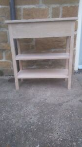 BESPOKE SOLID UNTREATED OAK CONSOLE TABLE 2 SHELVES