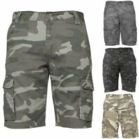 New Kruze Jeans Mens Camo Combat Cargo Shorts Casual Work Camouflage Half Pants