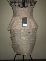 ( NEW WITH TAGS ) A LOVELY STYLISH MISO GOLD & CREAM  DRESS SIZE 8