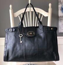 FOSSIL Vintage Reissue Weekender Black Leather Satchel Shoulder Tote Handbag EUC