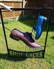 unusual large 3D vintage Shoe lace sign cobblers salvage footwear shop sign