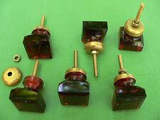 6 boutons verre cubiques biseautées bagues amovibles métal doré côté 2,7 cm