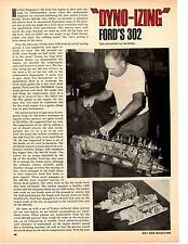 1969 FORD 302 ENGINE - DYNO TESTING  ~  NICE TWO-PAGE ORIGINAL ARTICLE / AD