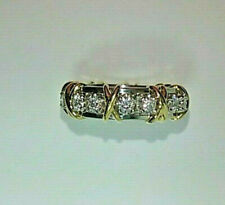 Tiffany & Co. Schlumberger 16 Stone Diamond Platinum 18k Gold Signature X Ring
