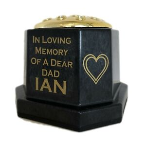 Black Heart Deco Memorial Flower Vase, Gold Grave Pot & Personalised Name / Text