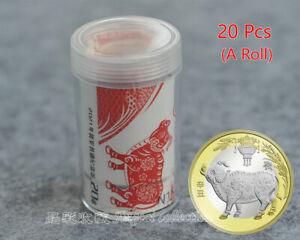Newest! 20pcs 2021 CHINA Lunar Year Ox Zodiac Bi-Metallic Coin 10 Yuan A Roll