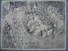 1930 Lyon très beau dessin Anne Marie Bernay 1889 1935 Cérémonie à Saint Jean