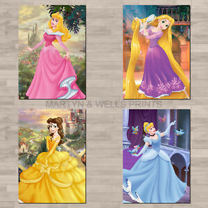 Disney princess A4 canvas paper / poster prints. Aurora, Belle, Cinderella.