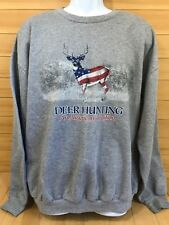 Jerzees Deer Hunting Sweater An American Tradition XL Gray American Flag Colors
