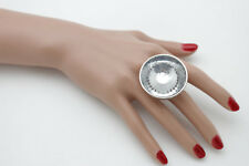 Fancy Bling Fashion Jewelry Elastic Band Sexy Women Big Shiny Silver Metal Ring