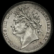 More details for 1825/3 george iv milled silver sixpence, extremely rare