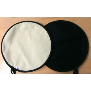Black Lid Hob Covers Chef Chefs Pads with Cream Towelling for Aga Range PAIR