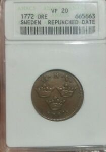 1772 Ore Sweden Repunched Date. ANACS VF20