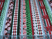 1 Yard Quilt Cotton Fabric - RJR Suite Christmas Candy Ribbon Stripe Silver Met