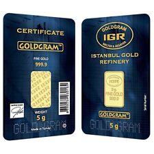 5 gram Istanbul Gold Refinery (IGR) Bar .9999 Fine (In Assay)