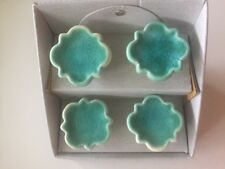 Ceramic Drawer Pull Knobs Vintage Washed Aqua Green Glazed S/4 Artisan De Luxe