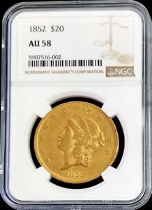 1852 GOLD TYPE 1 USA $20 LIBERTY DOUBLE EAGLE NGC ABOUT UNC 58