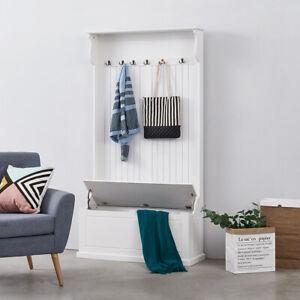 Hallway Wardrobe Coat Rack Storage Bench Entryway Tail Hooks Cabinet Furniture
