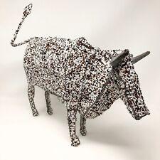 Large Handmade African Beaded Wire Animal Sculpture Bull Cow Zimbabwe Art